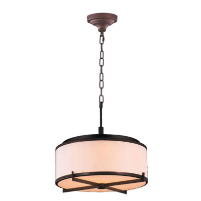 "Madeline Collection 6 Light LED Dark Bronze Finishwith Bisque Drum Shade Pendant 16"" D x 13"" H Small"""