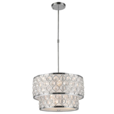 "Paris Collection 9 Light Chrome Finish with ClearCrystal Pendant D20""H12"""