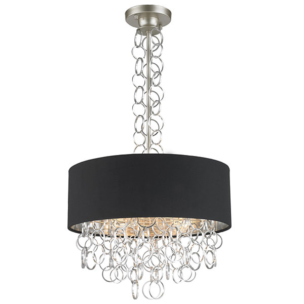 Catena Collection 5 Light Matte Finish with BlackLinen Drum Shade Pendant