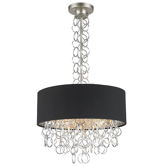 Catena Collection 5 Light Matte Finish with Black Linen Drum Shade Pendant