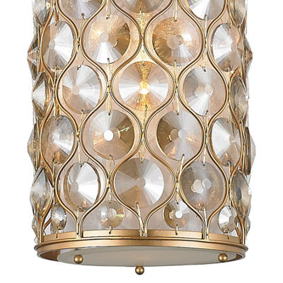 Paris Collection 1 Light with Clear and Golden Teak Crystal Mini Pendant