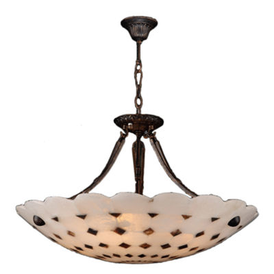 "Pompeii Collection 5 Light Flemish Brass Finish and Natural Quartz Bowl Pendant 24"" D x 18"" H Large"""