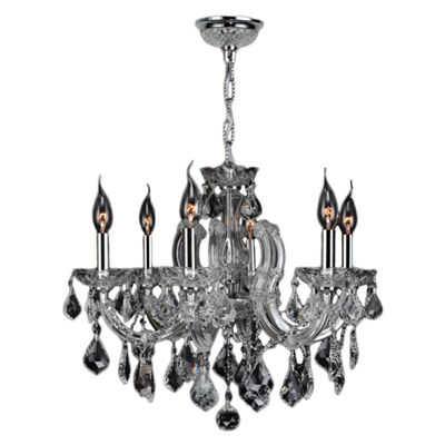 Catherine Collection 6 Light Chrome Finish and Crystal Chandelier