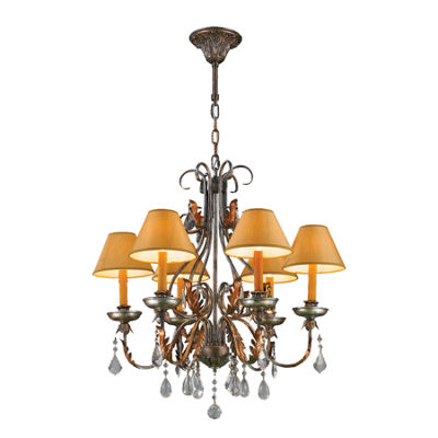 Milan Collection 6 Light Antique Bronze Finish with Orange Gold Candle and Shade Chandelier