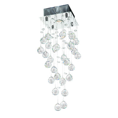 Icicle Collection 1 Light Chrome Finish and ClearCrystal Square Flush Mount Ceiling Light