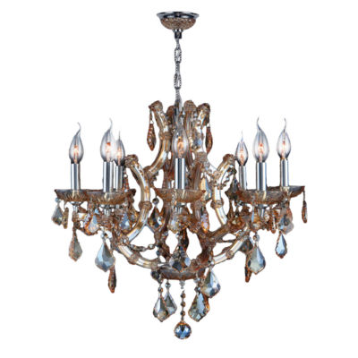 Lyre Collection 8 Light Chrome Finish and CrystalChandelier