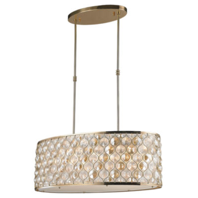 Paris Collection 12 Light with Clear and Golden Teak Crystal Pendant