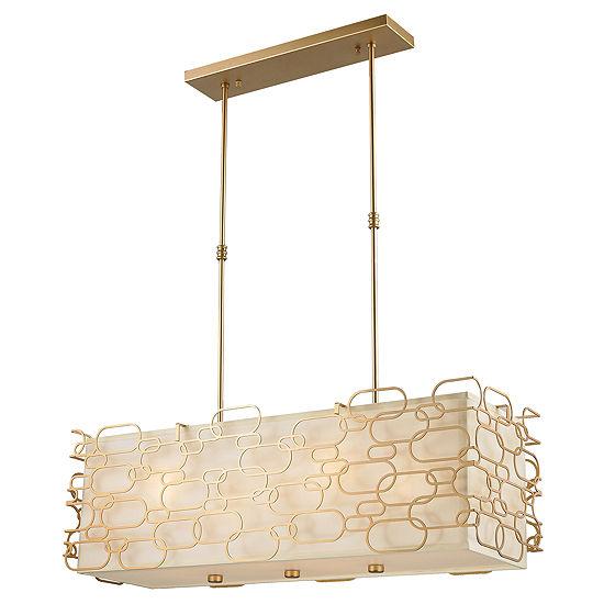 Montauk Collection 12 Light Matte Finish With Ivory Linen Shade Kitchen Island Pendant