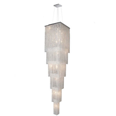 Prism Collection 21 Light 6-Tier Chrome Finish andClear Crystal Cascading Square Chandelier