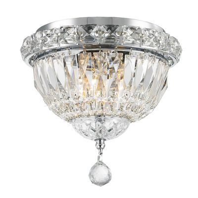 "Empire Collection 3 Light 8"" Round Clear Crystal Flush Mount Ceiling Light"""