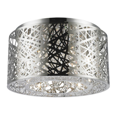 Aramis Collection 6 Light Halogen Chrome Finish Drum Shade with Clear Crystal Flush Mount Ceiling Light