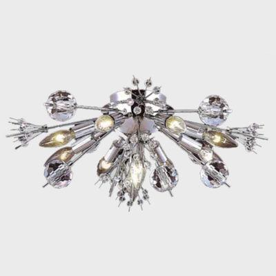 "Starburst Collection 10 Light Chrome Finish Crystal Sputnik Flush Mount Ceiling Light 20"" D x 8"" H Large"""