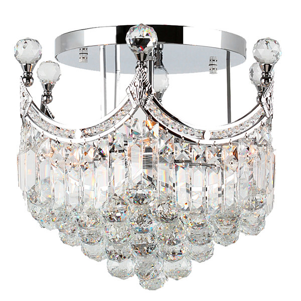 Empire Collection 6 Light Clear Crystal Round Flush Mount Ceiling Light