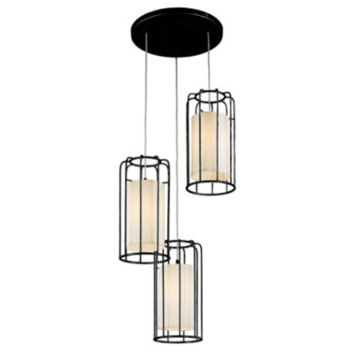 Sprocket Collection 3 Light Metal Cage Kitchen Island Cluster Pendant with Ivory Shade Finish