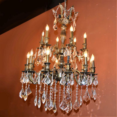 Versailles Collection 18 Light 2-Tier Clear Crystal Chandelier
