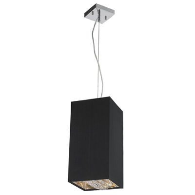 "Ritz Collection 1 Light Matte Silver finish with Black Shade Mini Square Pendant L8"" W8"" H16"""