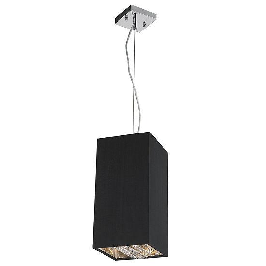 """Ritz Collection 1 Light Matte Silver finish with Black Shade Mini Square Pendant L8"""" W8"""" H16"""""""