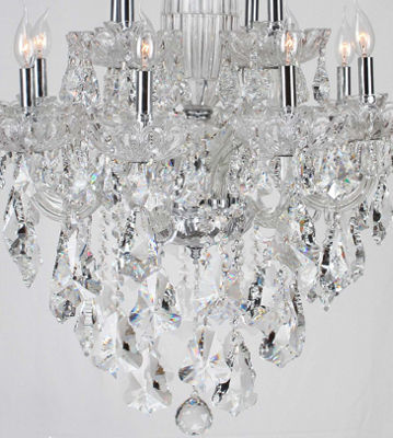 Olde World Collection 12 Light 2-Tier Chrome Finish Crystal Chandelier