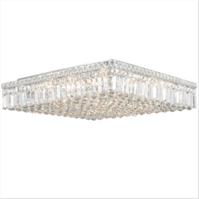 """Cascade Collection 13 Light 5.5"""" Extra Large Chrome Finish and Clear Crystal Flush Mount Ceiling Light"""""""