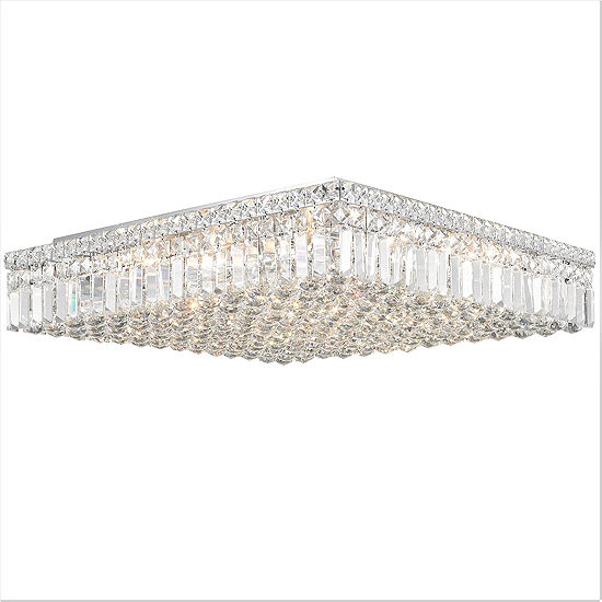 Cascade Collection 13 Light 55 Extra Large Chrome Finish And Clear Crystal Flush Mount Ceiling Light