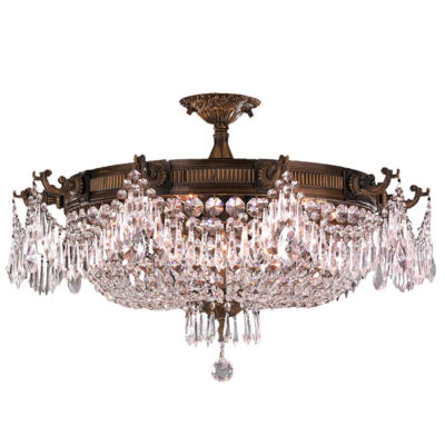 Winchester Collection 10 Light Clear Crystal Semi-Flush Mount Ceiling Light