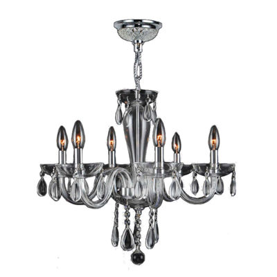 Gatsby Collection 6 Light Chrome Finish and BlownGlass Chandelier