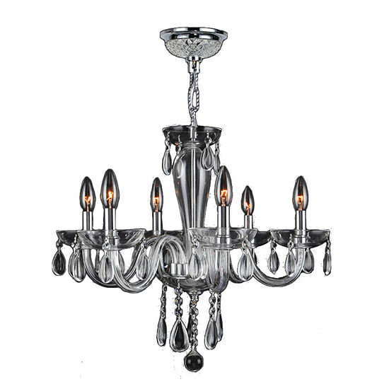 Gatsby Collection 6 Light Chrome Finish and Blown Glass Chandelier