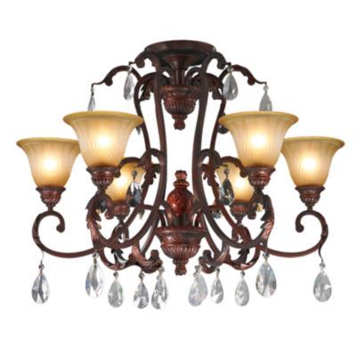 Florence Collection 6 Light Antique Bronze Finishwith Frosted Glass Shades Crystal Semi-Flush MountCeiling Light