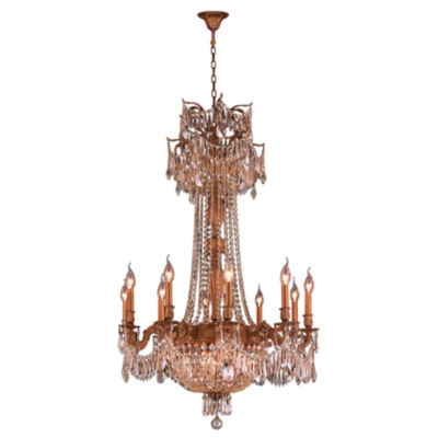 Winchester Collection 15 Light French Gold Finishand Golden Teak Crystal Chandelier