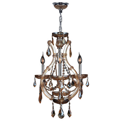 Lyre Collection 4 Light Mini Chrome Finish and Crystal Chandelier