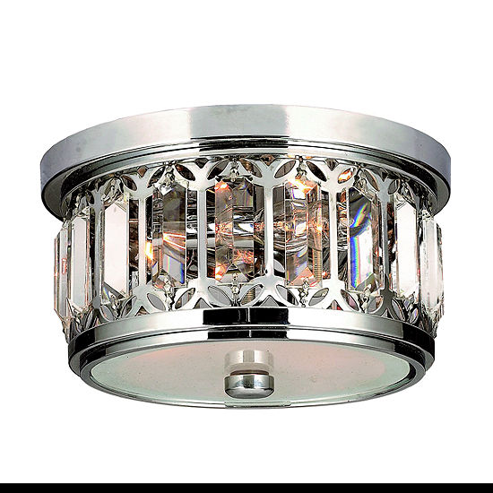 Parlour Collection 3 Light Chrome Finish and ClearCrystal Flush Mount Ceiling Light