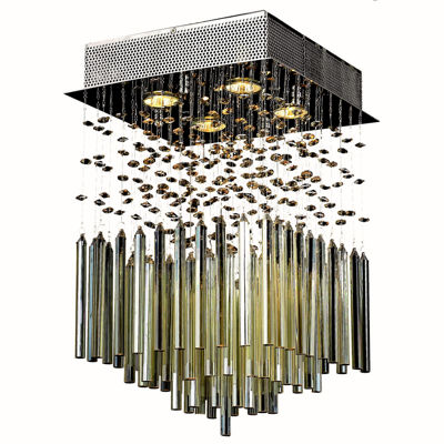 "Torrent Collection 4 Light 12"" Chrome Finish and Golden Teak Crystal Square Flush Mount Ceiling Light """