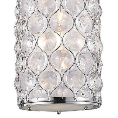 "Paris Collection 1 Light Chrome Finish with ClearCrystal Mini Pendant D8""H15"""