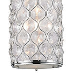 "Paris Collection 1 Light Chrome Finish with Clear Crystal Mini Pendant D8""H15"""