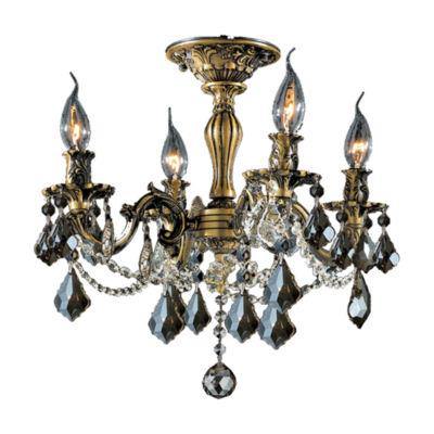 Windsor Collection 4 Light French Pendalogue Golden Teak Crystal Semi Flush Mount Ceiling Light
