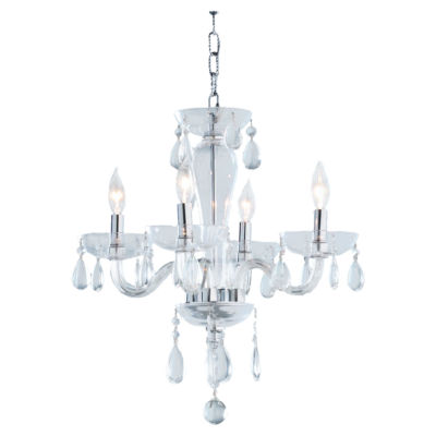 Gatsby Collection 4 Light Mini Chrome Finish and Blown Glass Chandelier