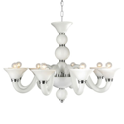 """Murano Collection 8 Light Blown Glass in White Finish Venetian Style Chandelier 18"""""""
