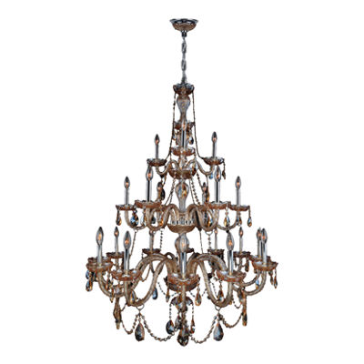 Provence Collection 21 Light 3-Tier Chrome Finishand Crystal Chandelier