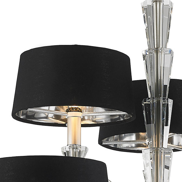 "Gatsby Collection  9 Light Matte Nickel Finish with Black Drum Shade Chandelier 34"" D x 30"" H Two Tier"""