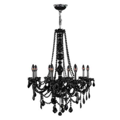 Provence Collection 8 Light Chrome Finish and Black Crystal Chandelier