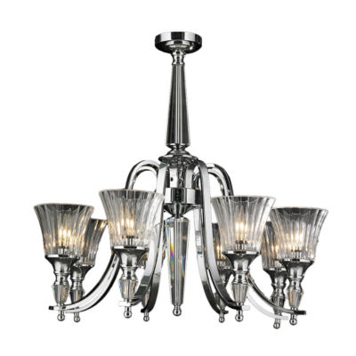 Innsbruck Collection 8 Light Chrome Finish and Clear Crystal Candle Chandelier