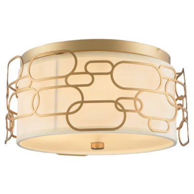 Montauk Collection 4 Light Matte Finish with IvoryLinen Shade Flush Mount Light