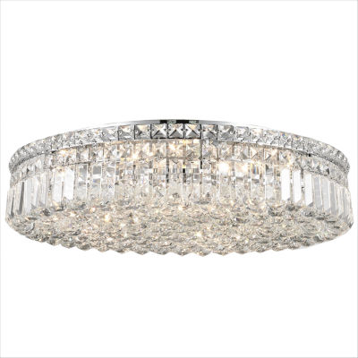 """Cascade Collection 9 Light 5.5"""" Round Extra Large Chrome Finish and Clear Crystal Flush Mount Ceiling Light"""