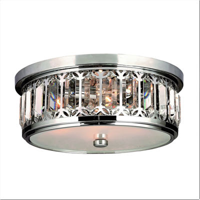 Parlour Collection 4 Light Chrome Finish and Clear Crystal Flush Mount Ceiling Light