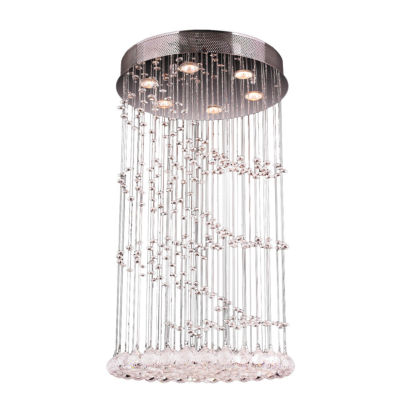 """Helix Collection 7 Light 24"""" Round Chrome Finish and Clear Crystal Flush Mount Ceiling Light"""""""