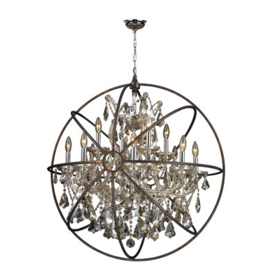 Armillary Collection 13 Light Chrome Finish and Crystal with Flemish Brass Cage Finish Foucault's Orb Chandelier