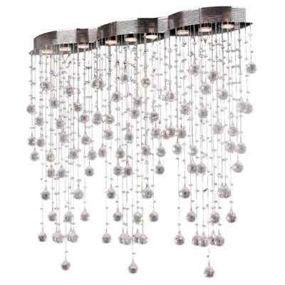 """Icicle Collection 9 Light 42"""" Oblong Chrome Finishand Clear Crystal Flush Mount Ceiling Light"""""""