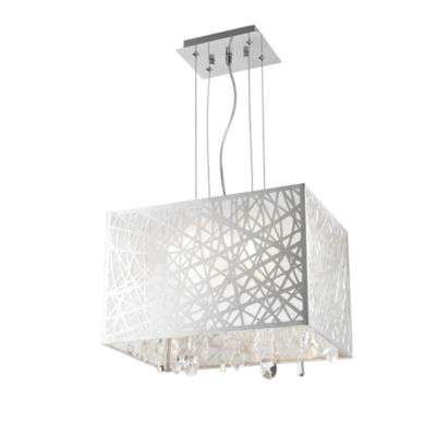 Julie Collection 4 Light Chrome Finish Rectangle Drum Shade with Clear Crystal Chandelier