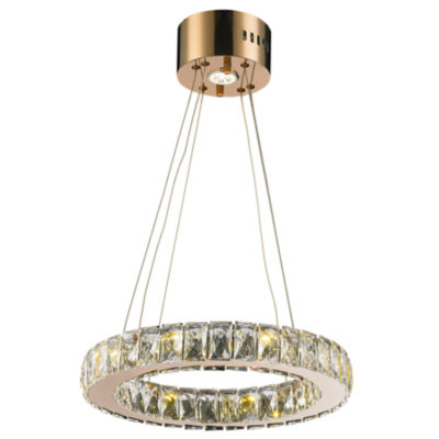 Galaxy 9 LED Light Rose Gold Finish and Clear Crystal Circular Ring Chandelier Mini