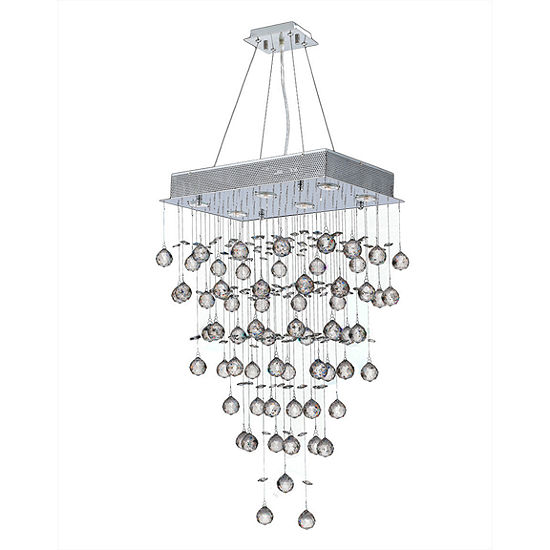 Icicle Collection 6 Light Chrome Finish and ClearCrystal Rectangle Chandelier